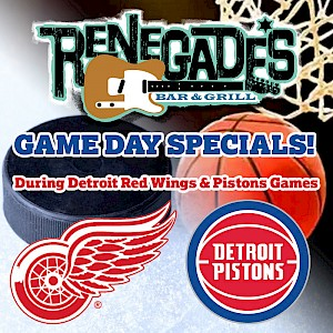 Game Day Specials during Detroit Red Wings and Pistons games