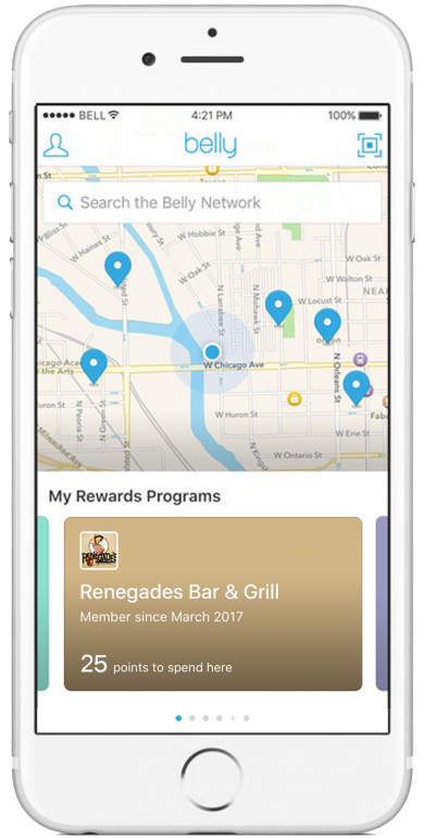 Use the Belly Rewards app on your smart phone to rack up points each time you visit Renegades Bar & Grill!
